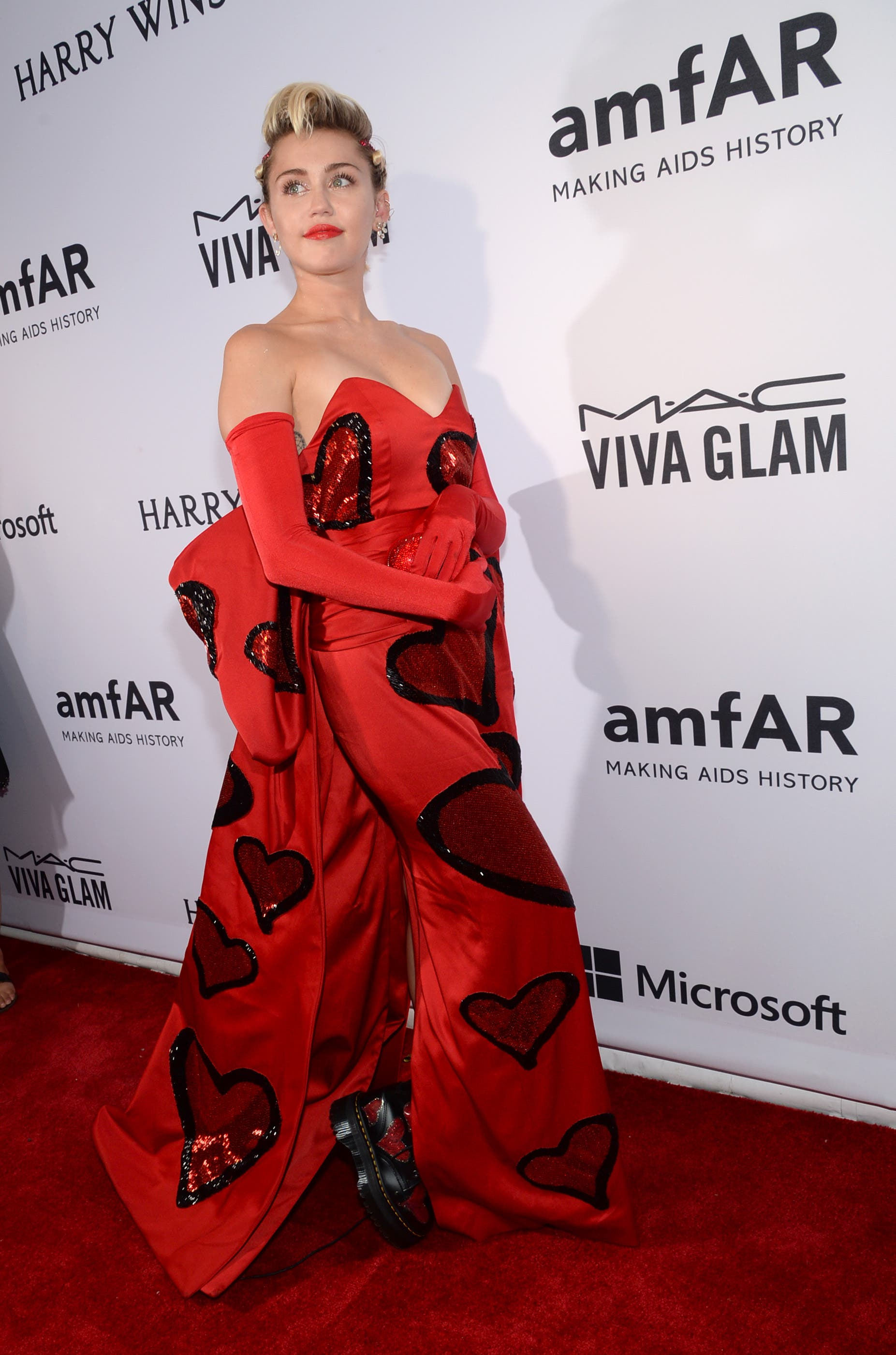 Miley Cyrus attends the 6th Annual amfAR New York Inspiration Gala at Spring Studios on Tuesday, June 16, 2015, in New York. (AP)