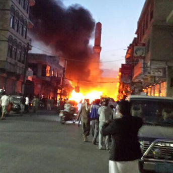 A picture on social media reportedly showing the immediate aftermath of a car bomb blast in the capital Sanaa, June 17, 2015 (Photo courtesy of Twitter)