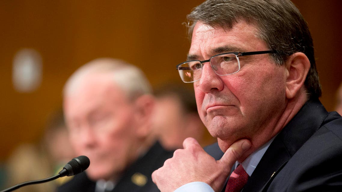 Defense Secretary Ash Carter and Joint Chiefs Chairman Gen. Martin Dempsey testify on Capitol Hill in Washington, Wednesday, May 6, 2015, before the Senate Appropriations Committee hearing to review the Fiscal Year 2016 funding request and budget justification for the Defense Department. AP