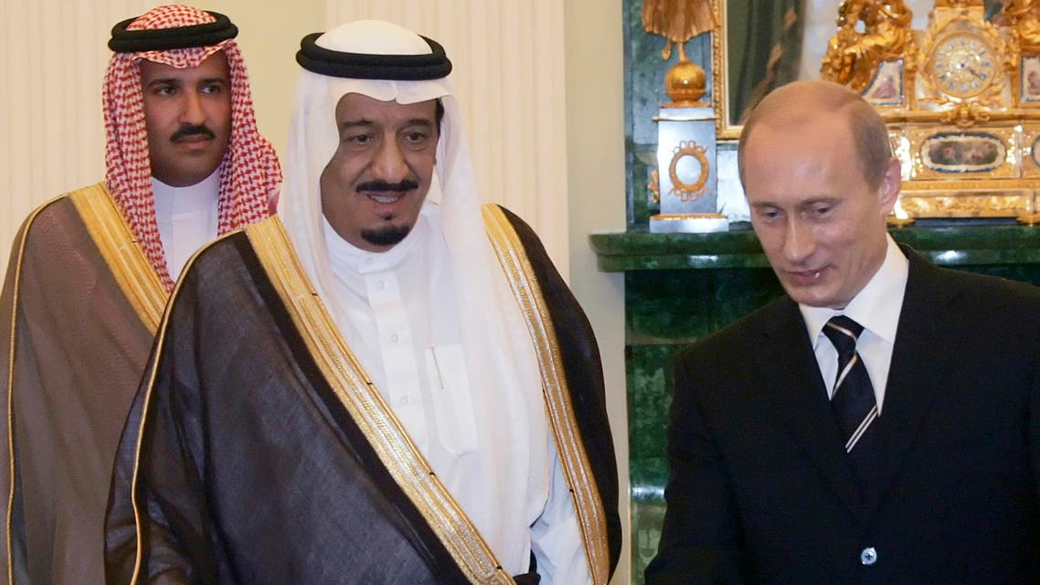 President Vladimir Putin greets Saudi Prince Salman bin Abdul Aziz Al Saud in the Kremlin in Moscow, Wedensday, June 28, 2006. (File Photo: AP)