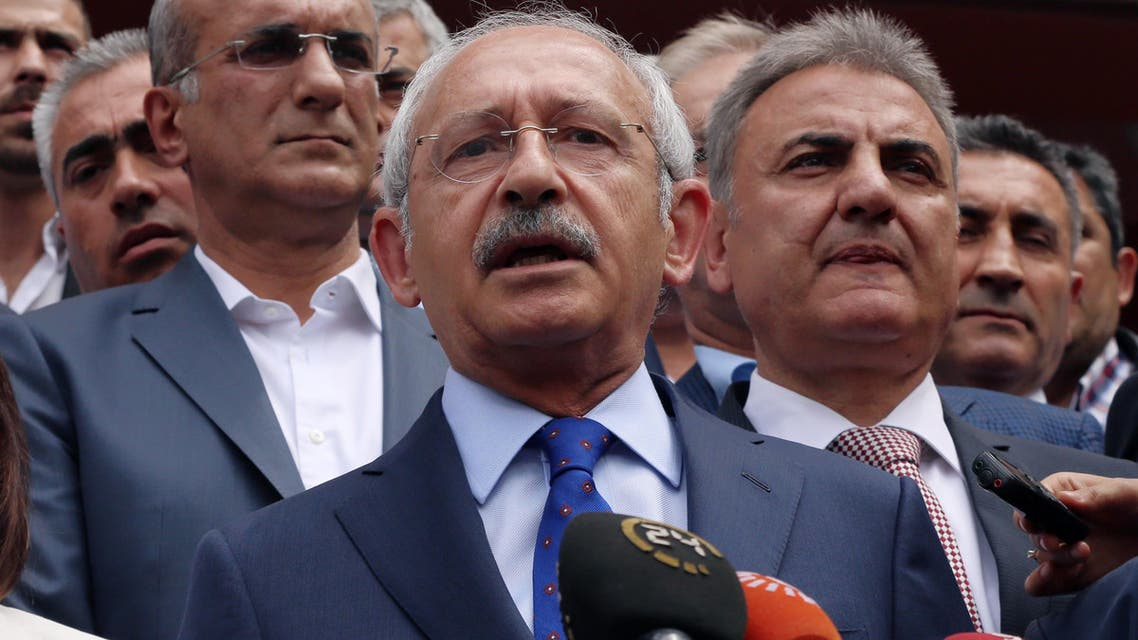 In this Sunday, June 7, 2015 file photo, Turkey's main opposition Republican People's Party leader Kemal Kilicdaroglu speaks to the media after voting in Ankara, Turkey. (AP)