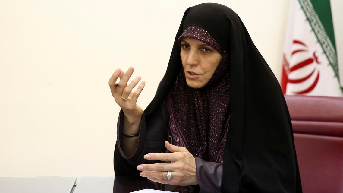 Vice President for Women and Family Affairs Shahindokht Molaverdi speaks in an interview with The Associated Press at her office in Tehran, Iran, Monday, June 8, 2015. (AP)