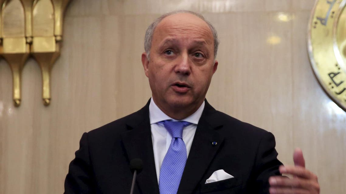 French Foreign Minister Laurent Fabius speaks during a joint news conference with Egyptian Foreign Minister Sameh Shukri (not pictured) at the presidential palace in Cairo, Egypt, June 20, 2015. (Reuters)