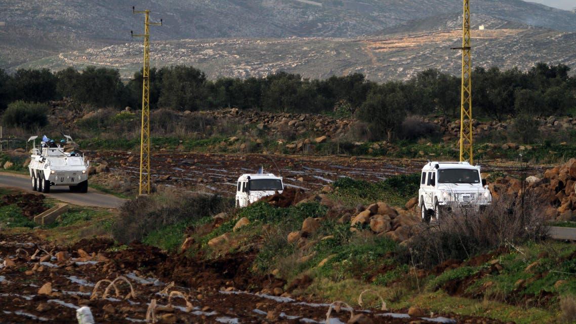 Spanish U.N. peacekeepers patrol the Lebanese Israeli border in the southern village of Abbasiyeh, Lebanon, Wednesday, Jan. 28, 2015. AP