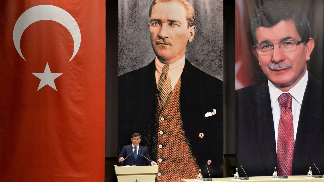 Turkish Prime Minister Ahmet Davutoglu addresses his AK Party local officials at the party headquarters in Ankara, Turkey, June 11, 2015. (Reuters)