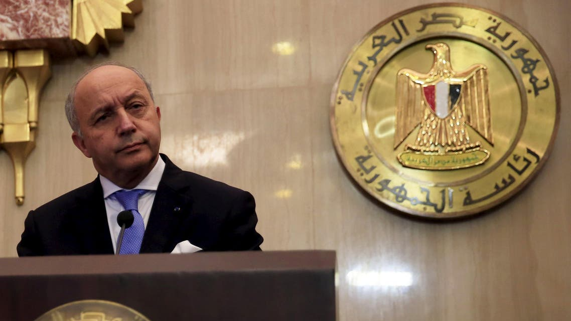 French Foreign Minister Laurent Fabius attends a joint news conference with Egyptian Foreign Minister Sameh Shukri at the presidential palace in Cairo. (Reuters)