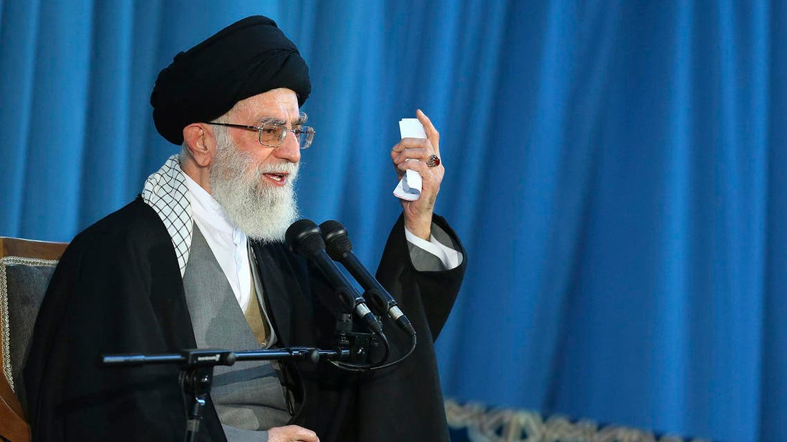 In this picture released by an official website of the office of the Iranian supreme leader, Supreme Leader Ayatollah Ali Khamenei delivers a speech in a public gathering in the city of Mashhad, northeastern Iran, Saturday, March 21, 2015.