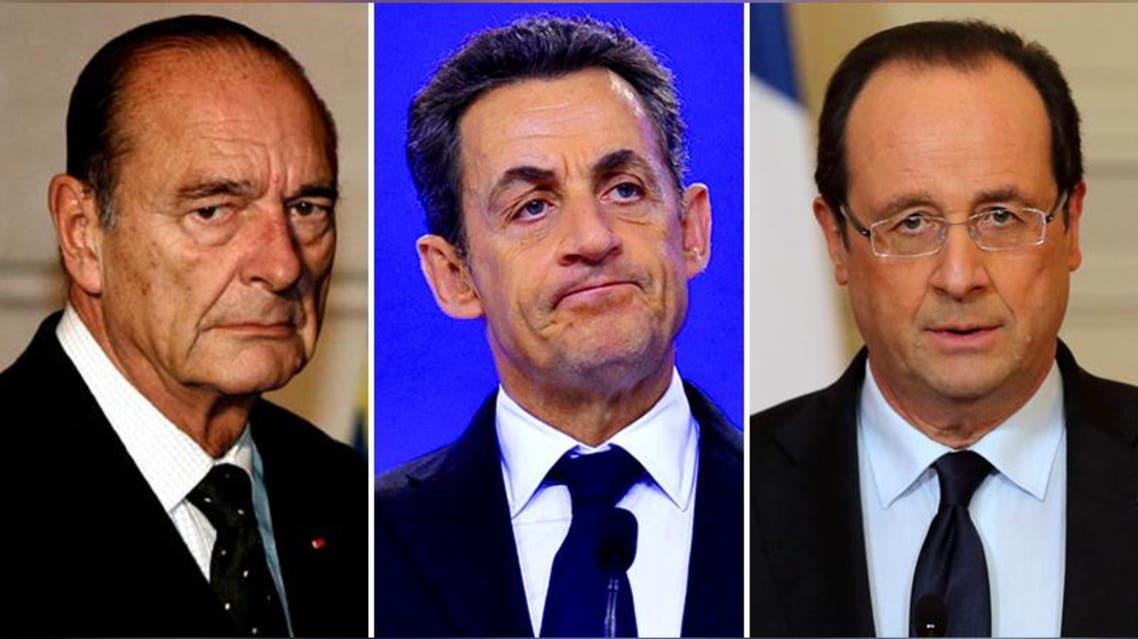 الرئيس الفرنسي فرنسوا هولاند وسلفيه نيكولا ساركوزي وجاك شيراك.