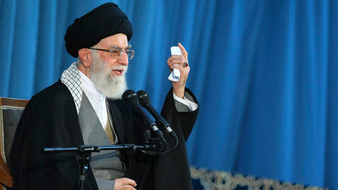 In this picture released by an official website of the office of the Iranian supreme leader, Supreme Leader Ayatollah Ali Khamenei delivers a speech in a public gathering in the city of Mashhad, northeastern Iran, Saturday, March 21, 2015. AP