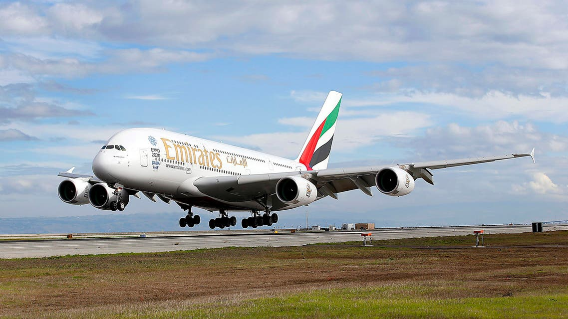 Emirates' inaugural A380 flight to San Francisco International Airport touches down on Monday, Dec. 1, 2014, in San Francisco. (Tony Avelar/AP Images for Emirates)