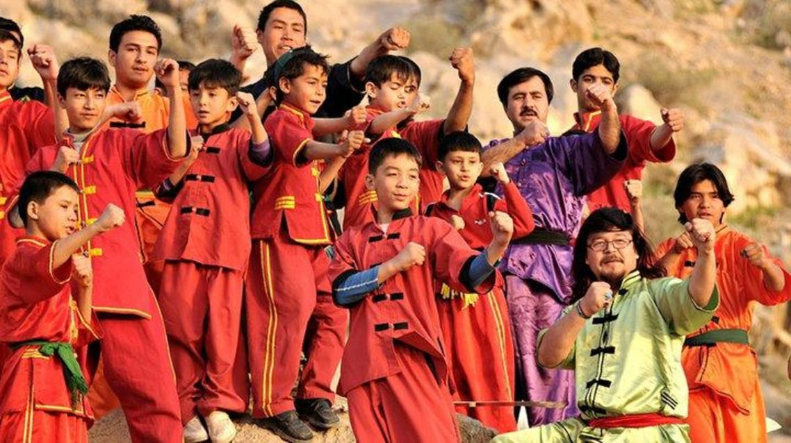Martial arts instructor Mubarak Ali Shan seen with his pupils (Photo supplied)