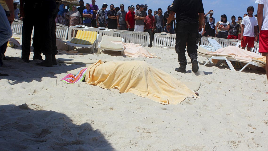 The body of a tourist shot dead by a gunman lies near a beachside hotel in Sousse, Tunisia June 26, 2015. Reuters
