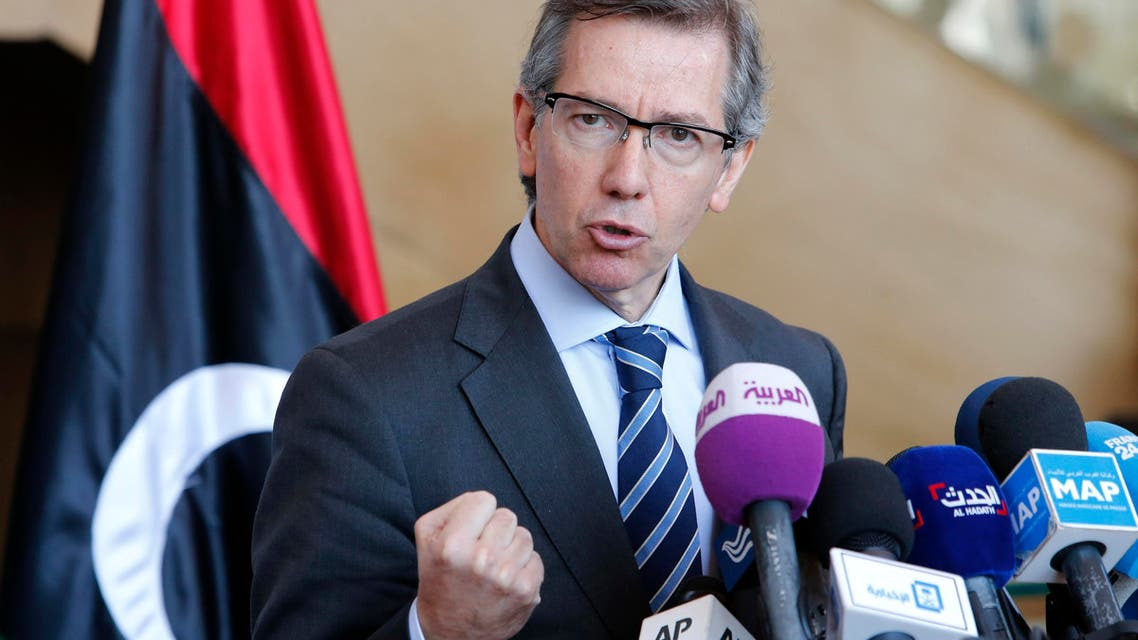 In this Friday, March 20, 2015 file photo, U.N. special envoy to Libya, Bernardino Leon, speaks during a press conference at the Palais des Congres of Skhirate, 30 kilometers (19 miles) south of Rabat, Morocco. |AP