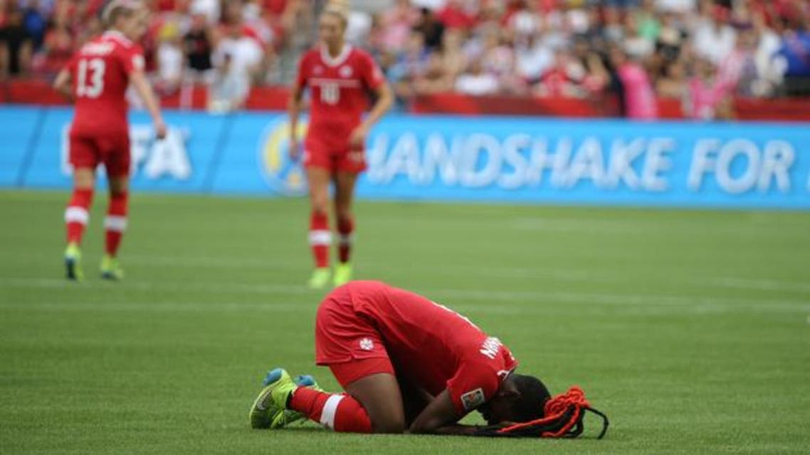 Canada defender Kadeisha Buchanan (3) reacts after losing to England in the quarterfinals of the FIFA 2015 Women's World Cup at BC Place Stadium. Reuters