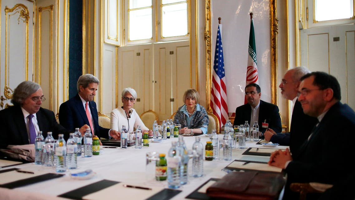 From left, U.S. Secretary of Energy Ernest Moniz, U.S. Secretary of State John Kerry and U.S. Under Secretary for Political Affairs Wendy Sherman meet with Iranian Foreign Minister Mohammad Javad Zarif, second from right, at a hotel in Vienna, Austria, Saturday, June 27, 2015. AP