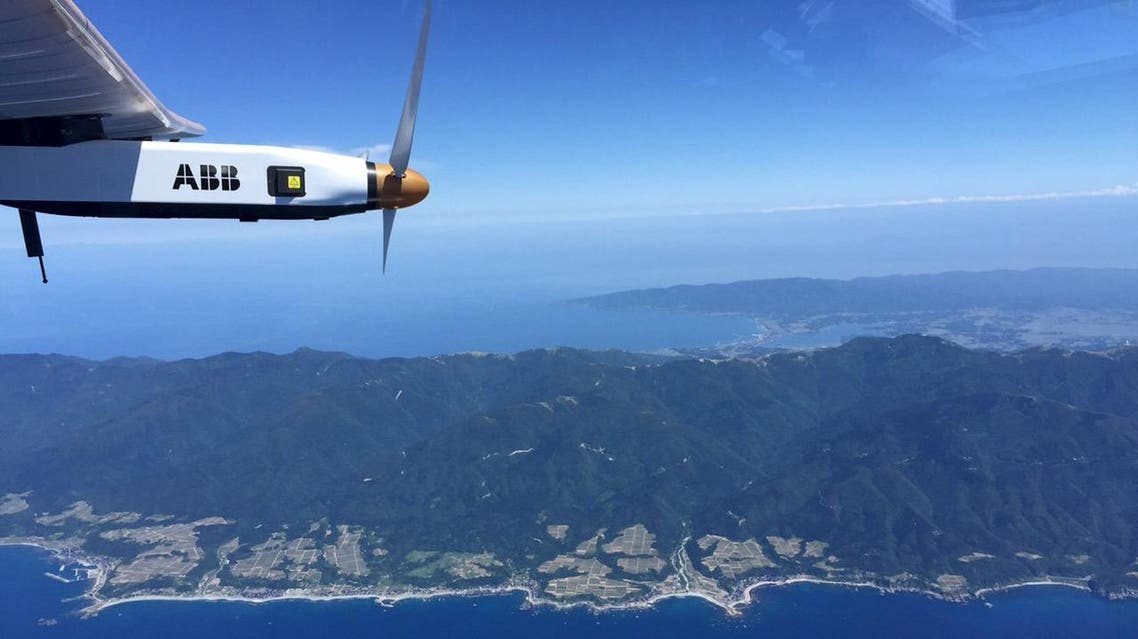 The Joetsu region in West coast of Japan is pictured by Swiss pilot Borschberg in the cockpit of the Solar Impulse 2 plane during the 7th leg of the round the world trip. (Reuters)