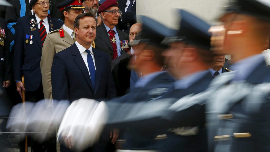 British Prime Minister David Cameron attends the Armed Forces Day in Guildford. (Reuters)