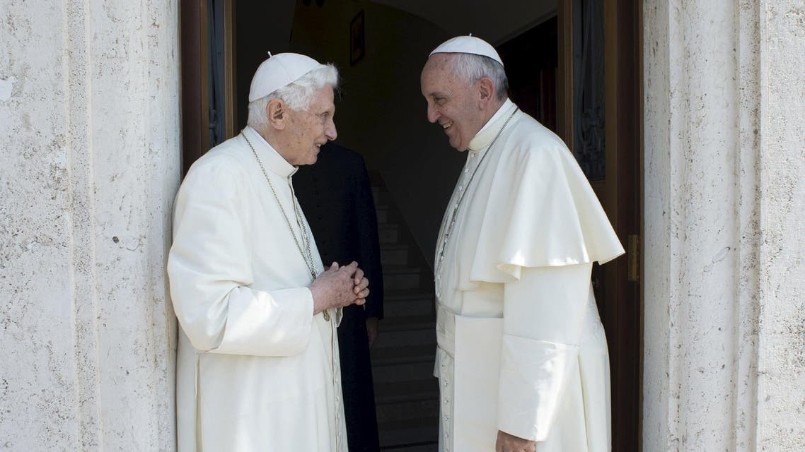 Pope Francis (R) talks with Pope Emeritus Benedict XVI during a meeting at the Vatican June 30, 2015. REUTERS/Osservatore Romano ATTENTION EDITORS - THIS PICTURE WAS PROVIDED BY A THIRD PARTY. REUTERS IS UNABLE TO INDEPENDENTLY VERIFY THE AUTHENTICITY, CONTENT, LOCATION OR DATE OF THIS IMAGE. NO SALES. NO ARCHIVES. FOR EDITORIAL USE ONLY. NOT FOR SALE FOR MARKETING OR ADVERTISING CAMPAIGNS. THIS PICTURE IS DISTRIBUTED EXACTLY AS RECEIVED BY REUTERS, AS A SERVICE TO CLIENTS. NO COMMERCIAL USE.