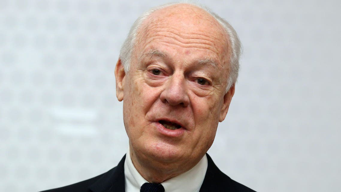 UN Special Envoy for Syria Staffan de Mistura informs the press after talks with Austrian Foreign Minister Sebastian Kurz at the foreign ministry in Vienna, Austria, Friday, Feb. 13, 2015. (AP