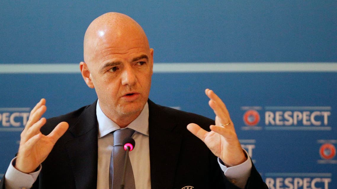 UEFA General Secretary Gianni Infantino gestures during a press conference after the UEFA Executive Committee meeting in Prague, Czech Republic, Tuesday, June 30, 2015. AP