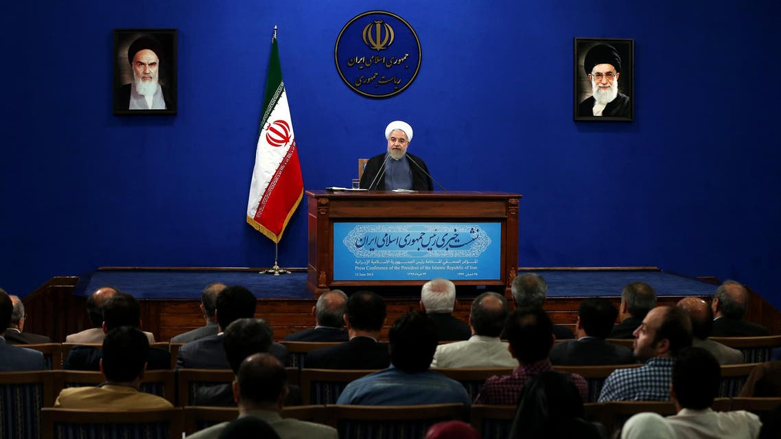 Iranian President Hassan Rouhani gives a press conference on the second anniversary of his election, in Tehran, Iran, Saturday, June 13, 2015. (Reuters)