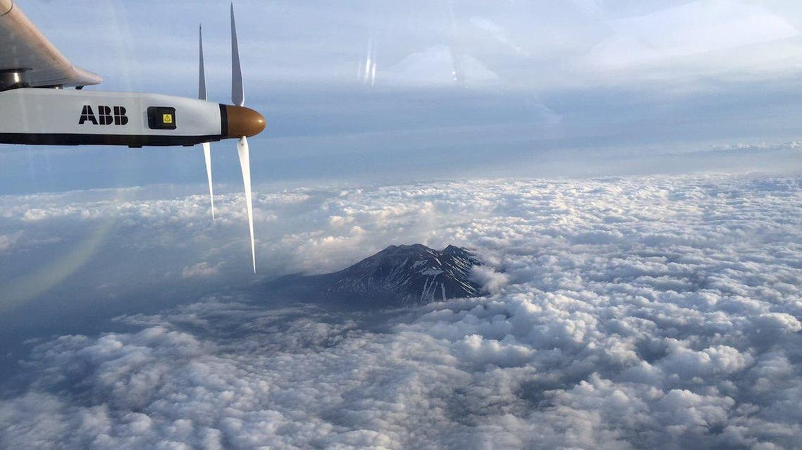 The Nagano mountain area is pictured by Swiss pilot Borschberg in the cockpit of the Solar Impulse 2 plane during the 7th leg of the round the world trip. (Reuters)