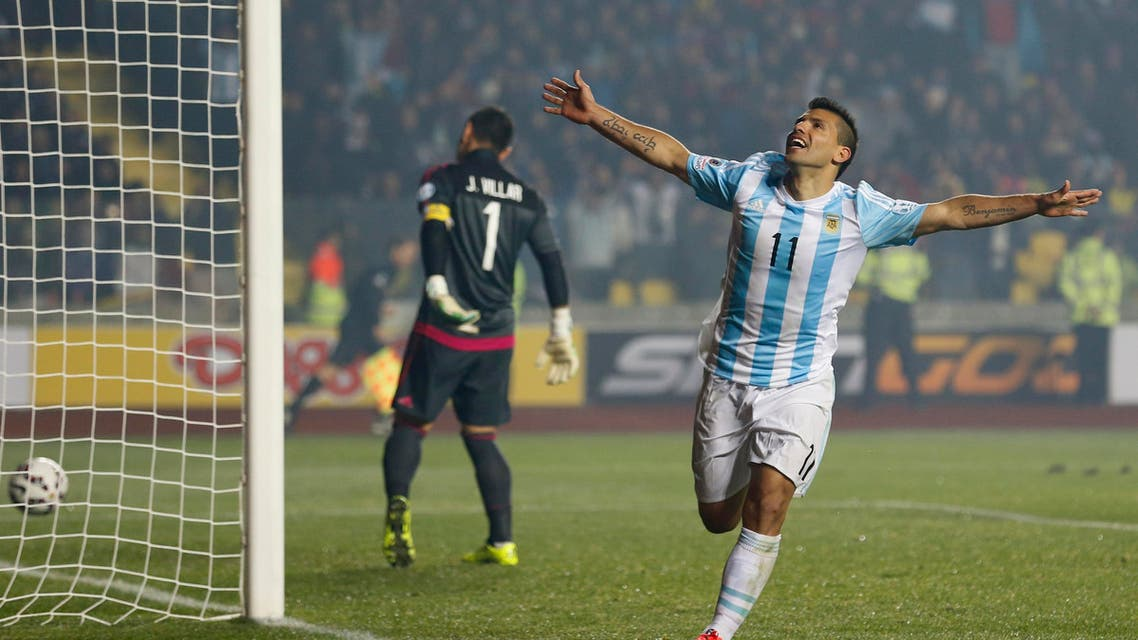 Argentina's Sergio Aguero celebrates after scoring his team's fifth goal during a Copa America semifinal soccer match against Paraguay at the Ester Roa Rebolledo Stadium in Concepcion, Chile, Tuesday, June 30, 2015. (AP)