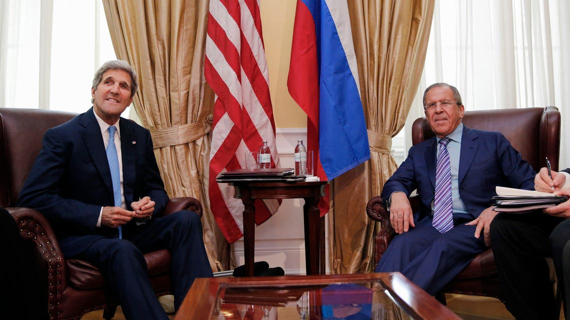 In this June 30, 2015, photo, U.S. Secretary of State John Kerry meets with Russian Foreign Minister Sergey Lavrov at a hotel in Vienna, Austria. Russia-U.S. relations are at a post-Cold War low just about everywhere, except at the Iran nuclear talks. Despite a chill over the Ukraine crisis that has spread to almost every element of their relationship, Moscow and Washington find common cause on a pressing issue on the global agenda. (Carlos Barria/Pool via AP)
