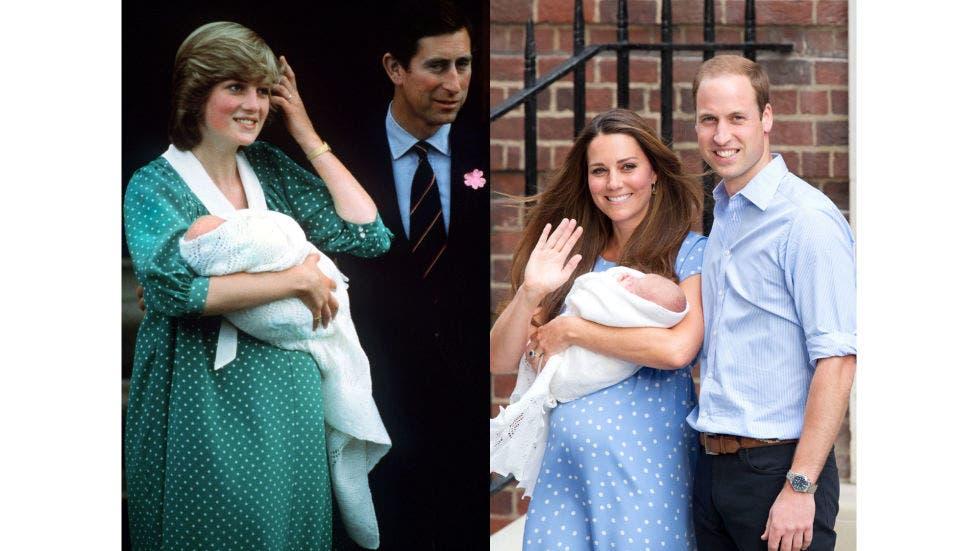12- ثوب بسيط منقّط اختارته ديانا في أول ظهور لها عند خروجها من المستشفى بعد ولادة ابنها ويليام في العام 1982، وقد اختارت كايت ثوباً بالطبعة نفسها لدى خروجها من المستشفى بعد ولادة طفلها جورج في العام 2013.