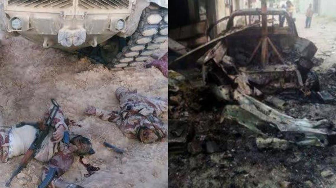 جثث مسلحي داعش في سيناء وعربة مدمرة باشتباكات مع الجيش المصري