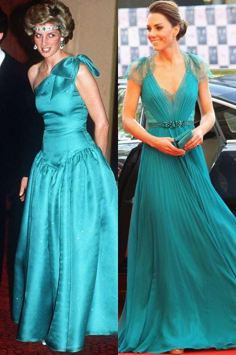 6- اللون الأخضر الزمردي اختارته ديانا خلال زيارتها إلى أستراليا في العام 1985، أما ثوب كايت فحمل توقيع Jenny Packham، وقد ارتدته خلال أمسية في مسرح زويال البرت هول بلندن خلال العام 2012.