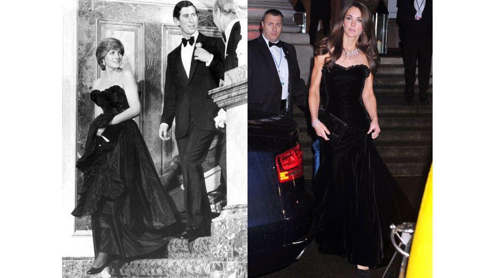11- ثوب أسود عاري الكتفين ارتدته ديانا في أول ظهور رسميّ لها مع الأمير تشارلز خلال العام 1981، أما كايت فقد اختارت ثوباً يشبهه لحضور حفل Sun Military Awards في العام 2011.