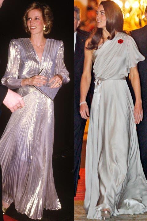 4- فستان سهرة طويل باللون الرمادي كان خيار ديانا في العام 1985 وقد حمل توقيع Bruce Oldfield، أما ثوب كايت فقد حمل توقيع Jenny Packham وقد ارتدته خلال حفل بلندن في العام 2011.