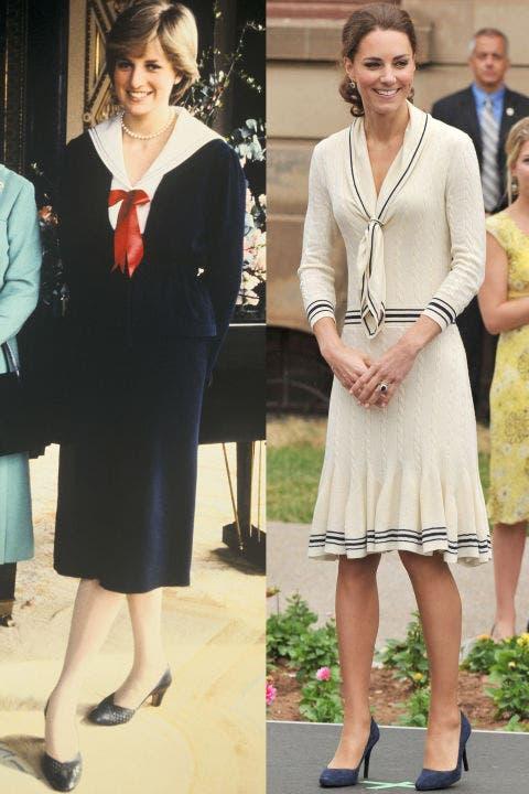 3- ديانا تختار إطلالة بحرية لجلسة تصوير في قصر بكنغهام خلال العام 1980، أما كايت فقد اختارت إطلالتها البحرية من Alexander McQueen خلال جولتها على شمالي أميركا في العام 2011.
