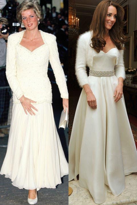 1- ديانا بالأبيض خلال العام 1988 وكايت تختار اللون نفسه لحضور حفل الاستقبال الذي تلا حفل زفافها في العام 2011.