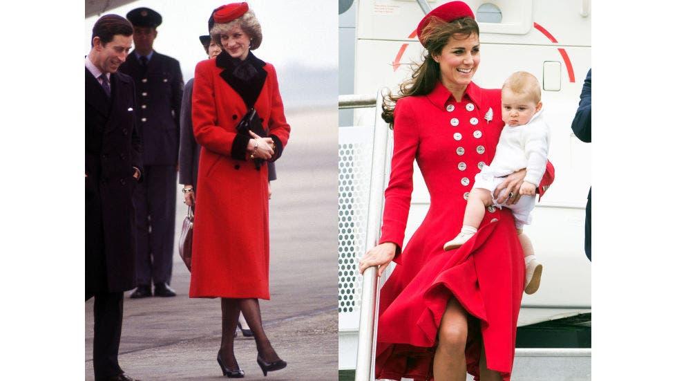 13- معطف باللون الأحمر تزيّنه الأزرار من Catherine Walker ظهرت به ديانا على أرض مطار برمنغهام في العام 1984، وقد وقع اختيار كايت على معطف مشابه له ظهرت به في مطار ولينغتون خلال العام 2014.