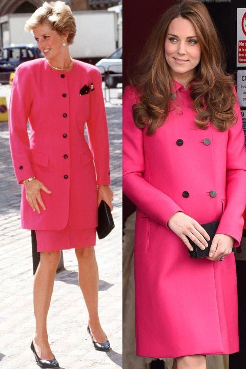 9- ديانا في تايور باللون الوردي المشرق تزيّنه أزرار سوداء في العام 1990، وكايت في معطف باللون نفسه في العام 2015.