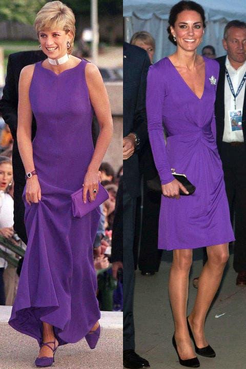 2- ديانا بثوب بنفسجي من Versace خلال زيارة إلى متحف التاريخ الطبيعي في شيكاغو خلال العام 1996، وكايت بثوب باللون نفسه خلال زيارة إلى كندا في العام 2011.