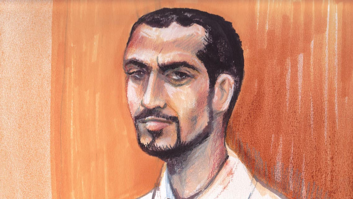 In this artists rendering, Omar Khadr appears in an Edmonton courtroom, Monday, Sept. 23, 2013.