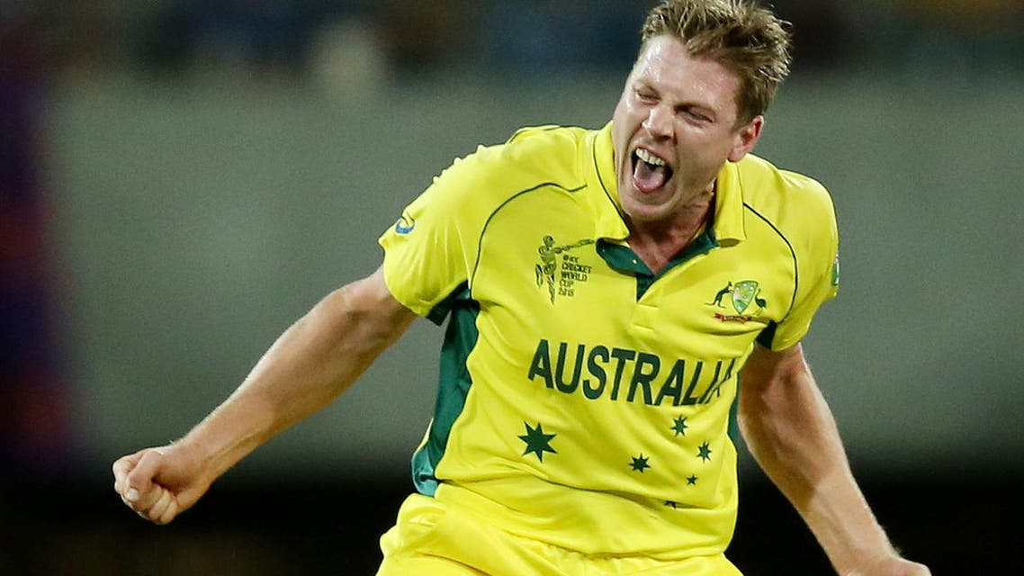 Australia's James Faulkner celebrates after taking the wicket of India's Suresh Raina during their Cricket World Cup semifinal in Sydney, Australia, Thursday, March 26, 2015. (AP Photo/Rick Rycroft)