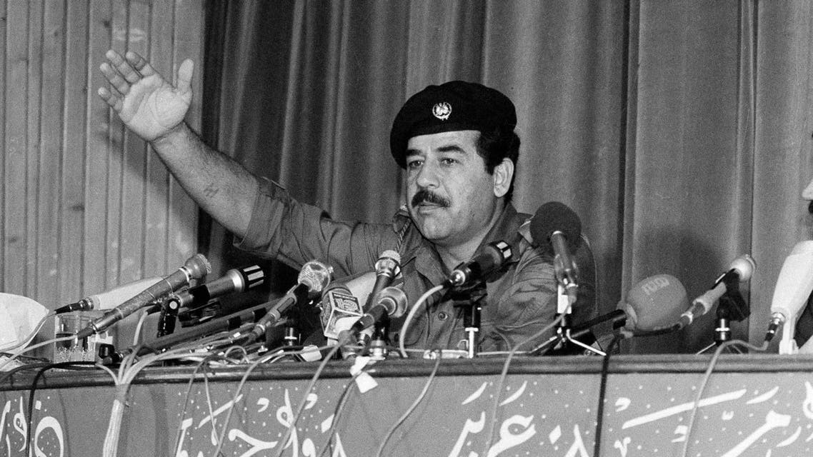 Iraqi President Saddam Hussein speaks at a news conference in Baghdad, Iraq, Nov. 11, 1980. (AP)