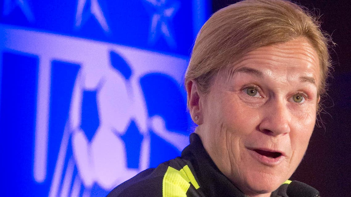 United States women's soccer head coach Jill Ellis speaks during the U.S. women's national team World Cup media day, Wednesday, May 27, 2015, in New York. The U.S. will face South Korea on Saturday, May 30, at Red Bull Arena in their final send-off match, before leaving for Canada and the 2015 FIFA Women's World Cup. (AP Photo/Bebeto Matthews)