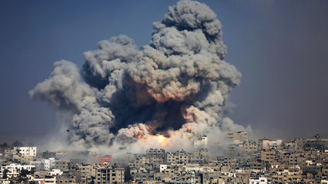 In this July 29, 2014 file photo, smoke and fire from an Israeli strike rise over Gaza City. (AP)