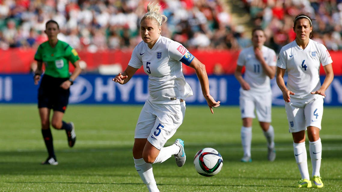 Edmonton, Alberta, CAN; England defender Steph Houghton (5) runs down a ball during the first half against Japan in the semifinals of the FIFA 2015 Women's World Cup at Commonwealth Stadium.