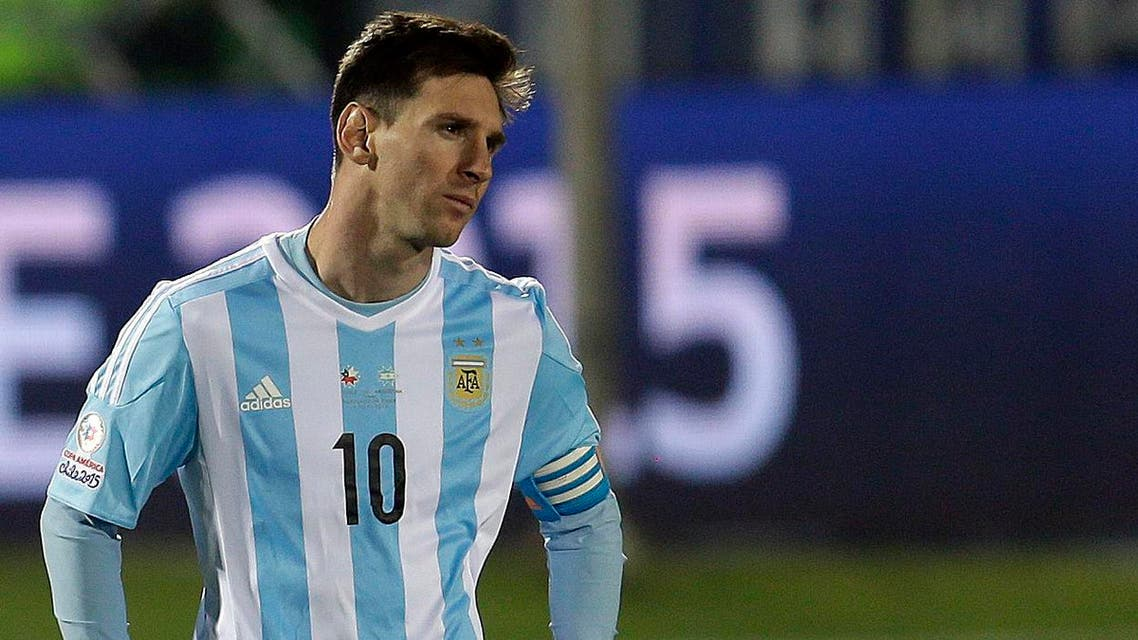 Argentina's Lionel Messi looks on after the Copa America final game agains Chile at the National Stadium in Santiago, Chile, Saturday, July 4, 2015.