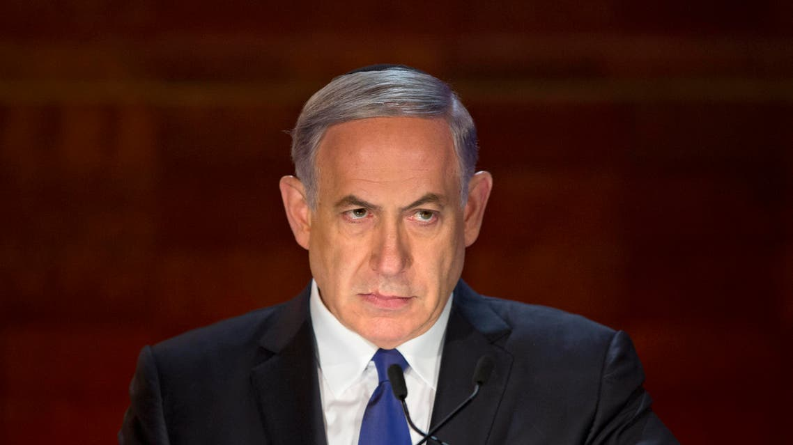 Israeli Prime Minister Benjamin Netanyahu looks on as he speaks at the opening ceremony of the Holocaust Remembrance Day at the Yad Vashem Holocaust Memorial in Jerusalem. AP