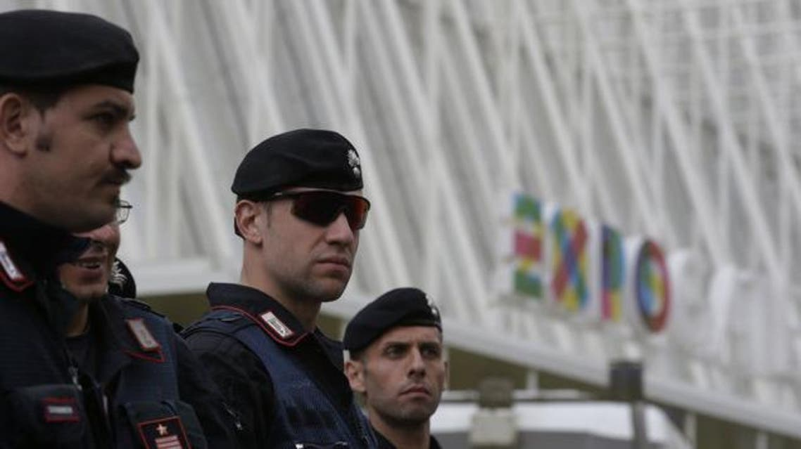 Italian Carabinieri, paramilitary police officers, patrol in front of the Expo gate. (File: AP)
