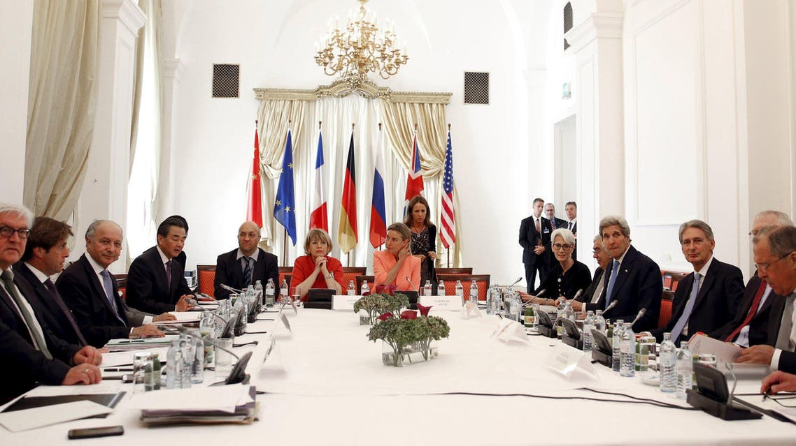 The foreign ministers of Germany, France, China, Russia, and the EU High Representative for Foreign Affairs and Security Policy Mogherini, U.S. Secretary of State Kerry, British Foreign Secretary Hammond meet in Vienna. (Reuters)