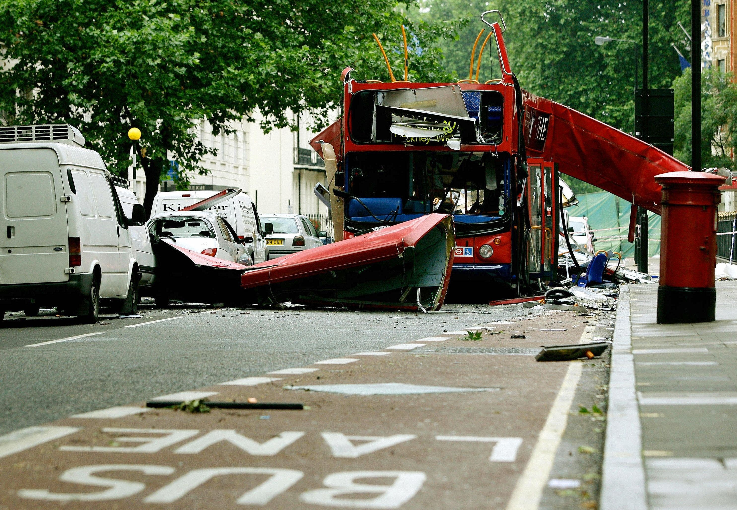 A file picture taken on July 8, 2005, shows the Number 30 London bus after it was damaged by an explosion.(AFP)