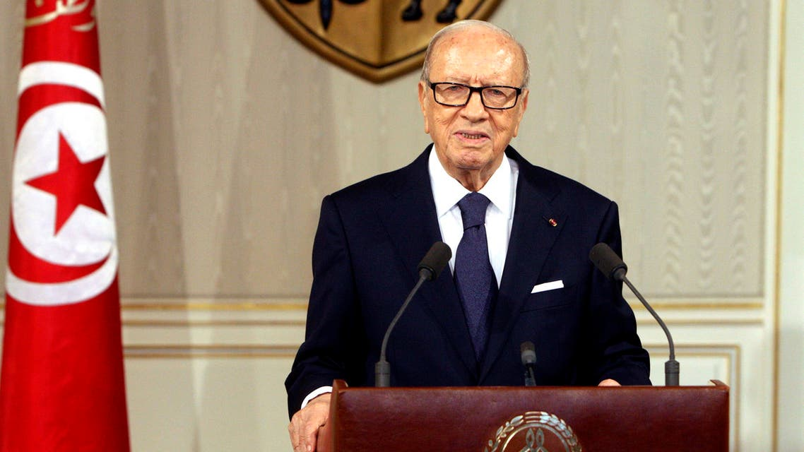 Tunisian President Beji Caid Essebsi, speaks as he announces the state emergency in Tunis, Tunisia, Saturday July 4, 2015. AP